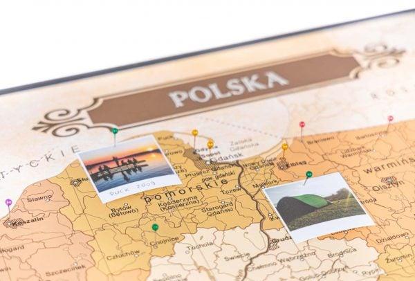 Mapa Polski, mapa do oznaczania podrozy na korku aluminiowa rama
