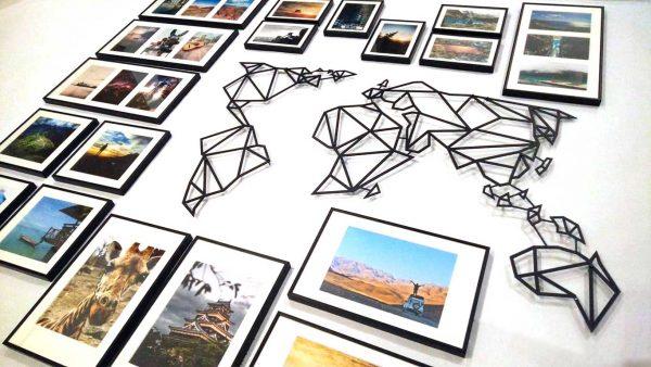 Stalowa mapa podróży na ścianę minimalistyczny wystrój wnętrza PicArta