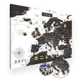 Biało czarna mapa Europy na ścianę do oznaczania podróży XXL