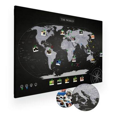 Czarno biała mapa świata na ścianę do oznaczania podróży XXL