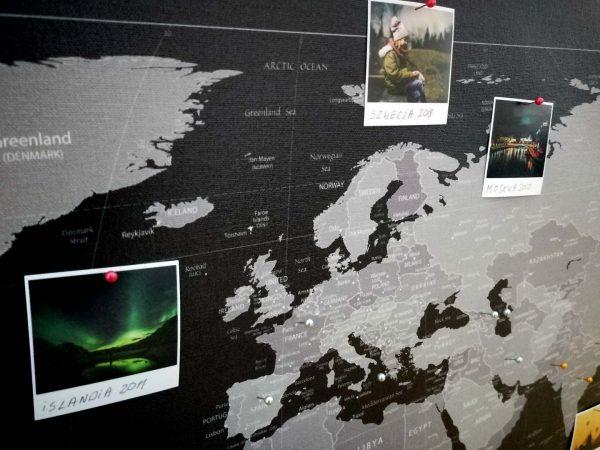 mapa świata do oznaczania podroży na ścianę