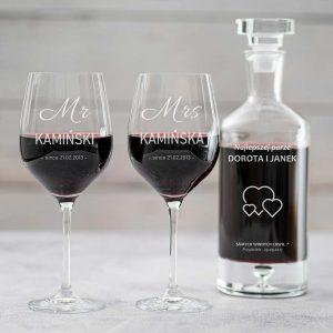 Karafka do wina i kieliszki grawerowane