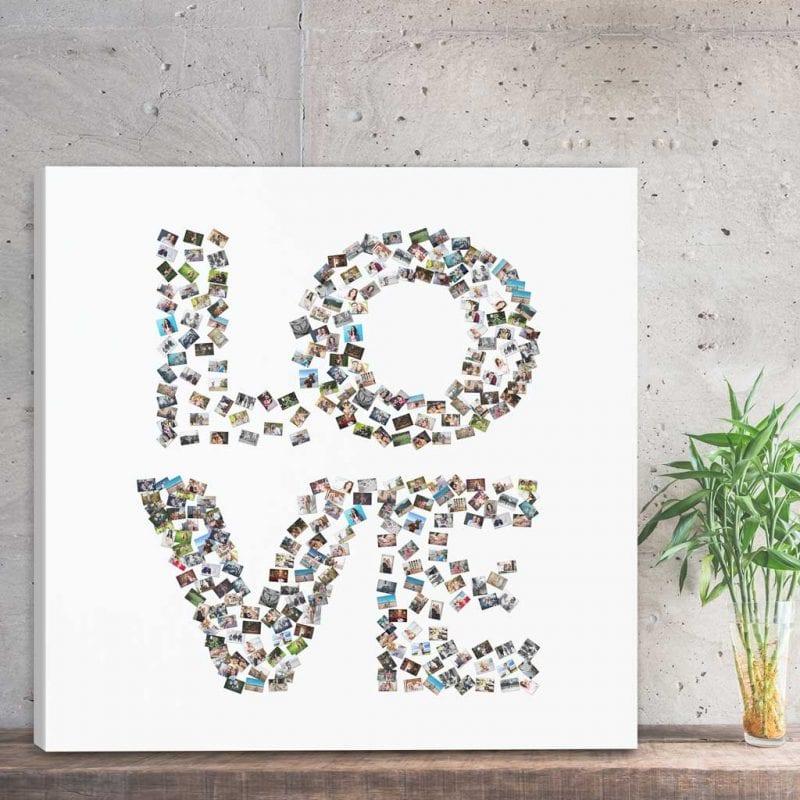Obraz ze słów jako prezent na 50 urodziny - kolaż ze zdjęć love