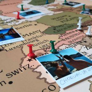 Mapa Europy - mapa podroży do oznaczania odwiedzonych miejsc PicArta