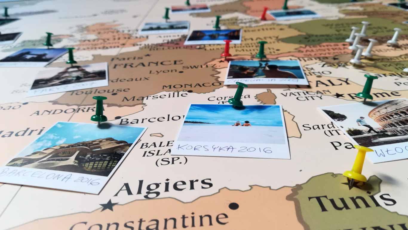Personalizowana mapa Europy na ścianę - mapa podróży do oznaczania podroży i odwiedzonych zaplanowanych i wymarzonych miejsc PicArta