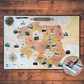 Mapa Polski na ścianę do oznaczania podróży