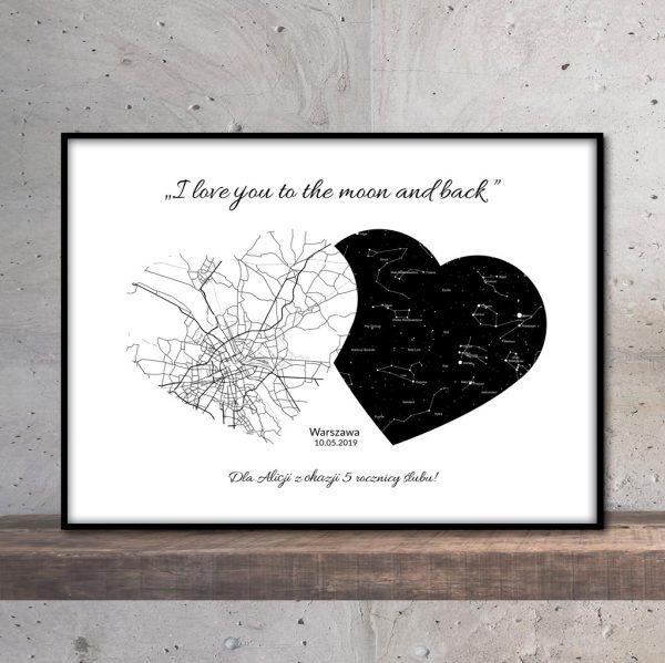 Personalizowana mapa nieba gwiazd i miasta serce czarno-biała PicArta
