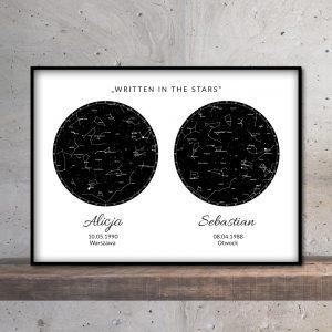 mapa nieba i gwiazd podwójna black mozaikowo