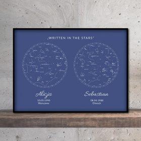 mapa nieba i gwiazd podwójna navy blue mozaikowo