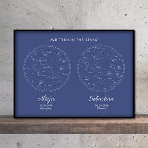 Personalizowana mapa nieba i gwiazd podwójna niebieska PicArta