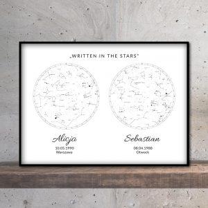 Personalizowana mapa nieba i gwiazd podwójna white PicArta