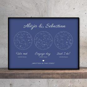 mapa nieba i gwiazd potrójna blue mozaikowo