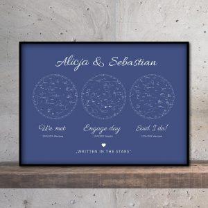 Personalizowana mapa nieba i gwiazd potrójna blue PicArta