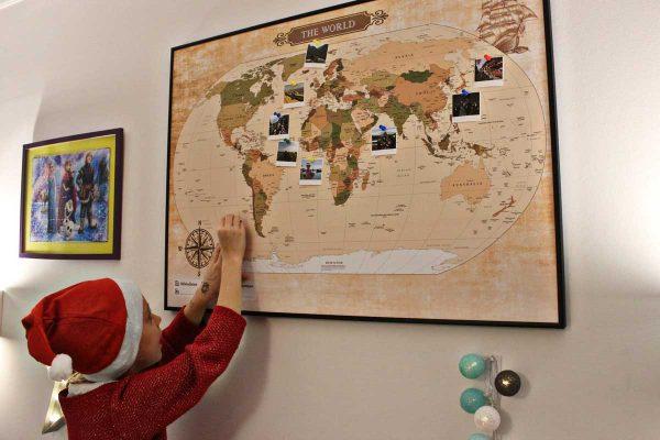 Mapa podróży na ścianę do oznaczania odwiedzonych zaplanowanych i wymarzonych miejsc PicArta