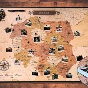 Mapa Polski - mapa podroży na ścianę czarna rama PicArta