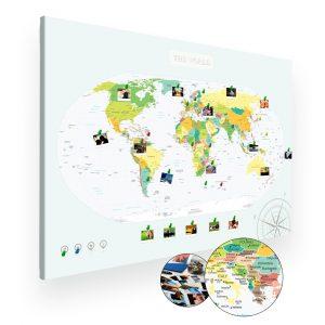 Mapa polityczna świata na ścianę do oznaczania podróży XXL