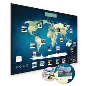 mapa świata do oznaczania podróży deep blue