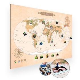 Mapa świata na ścianę do oznaczania podróży na ścianę XXL A0