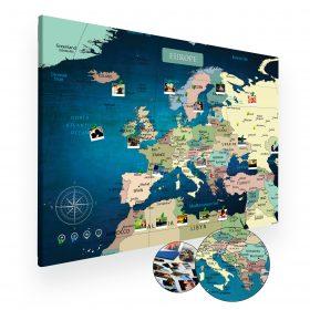 Niebieska mapa europy na ścianę do oznaczania podróży XXL