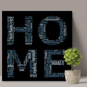 Obraz z liter i słów chmura słów napis Home PicArta