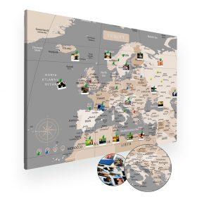 Pastelowa mapa europy na ścianę do oznaczania podróży XXL