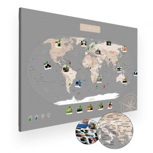 Pastelowa mapa świata na ścianę do oznaczania podróży XXL