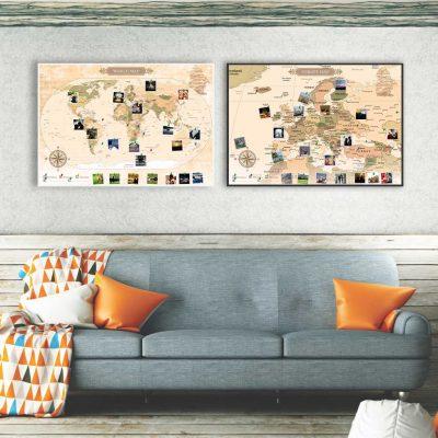 Mapa świata i Europy - Mapa podróży na ścianę do oznaczania odwiedzonych zaplanowanych i wymarzonych miejsc PicArta