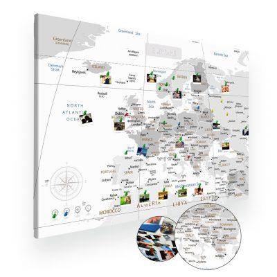 Szara mapa świata na ścianę do oznaczania podróży XXL