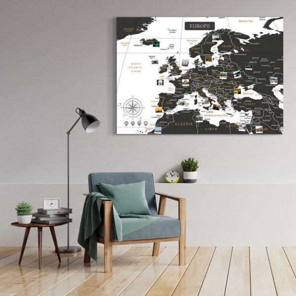 A0 Mapa Europy do Oznaczania Podróży Czarno Biała