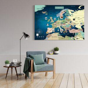 A0 Mapa Europy do Oznaczania Podróży niebieska Deep Blue