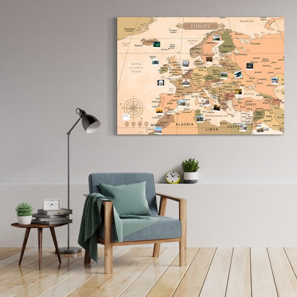 A0 Mapa Europy do Oznaczania Podróży Klasyczna Papirusowa