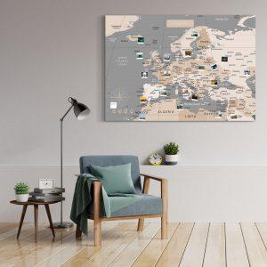 A0 Mapa Europy do Oznaczania Podróży Pastelowa