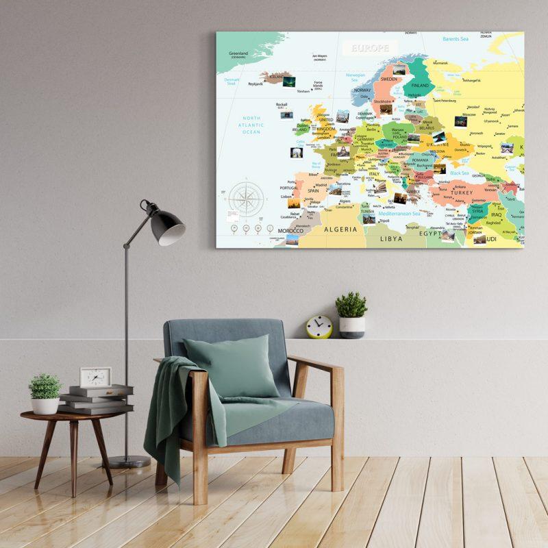 A0 Mapa Europy do Oznaczania Podróży Polityczna Atlasowa