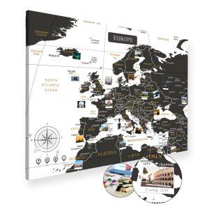A0 Mapa Podróży Europy na ścianę do zaznaczania miejsc biało czarna na płótnie XXL