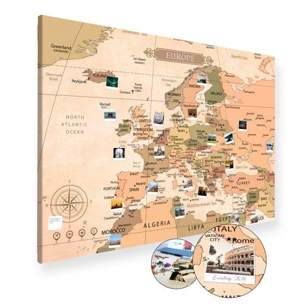 A0 Mapa Podróży Europy na ścianę do zaznaczania miejsc klasyczna na płótnie XXL