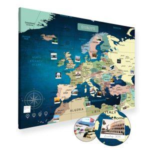 A0 Mapa Podróży Europy na ścianę do zaznaczania miejsc niebieska deep blue na płótnie XXL
