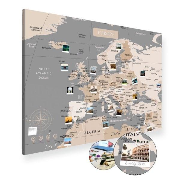 A0 Mapa Podróży Europy na ścianę do zaznaczania miejsc pastelowa na płótnie XXL