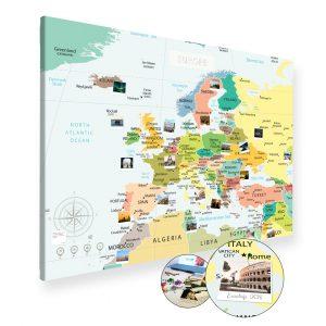 A0 Mapa Podróży Europy na ścianę do zaznaczania miejsc polityczna na płótnie XXL