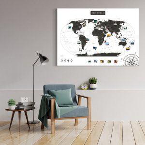 A0 Mapa Świata do Oznaczania Podróży Czarno Biała wizualizacja