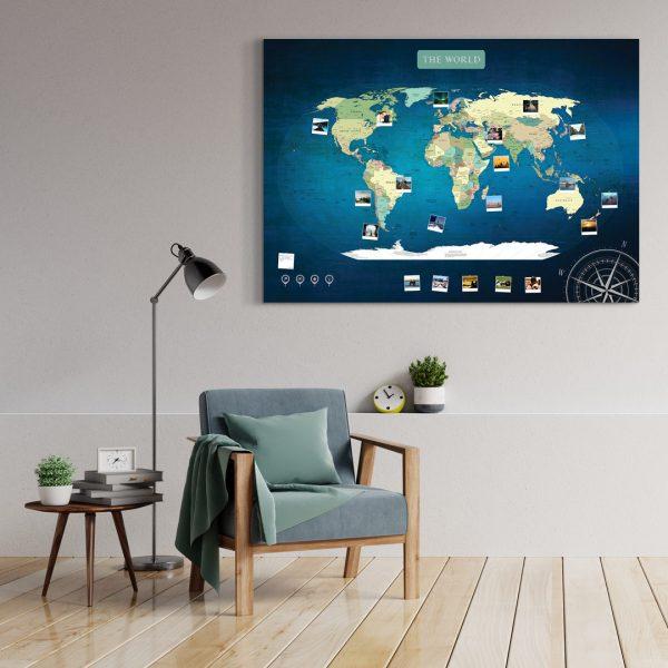 A0 Mapa Świata do Oznaczania Podróży Niebieska Deep Blue