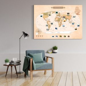 A0 Mapa Świata do Oznaczania Podróży Klasyczna Papirusowa