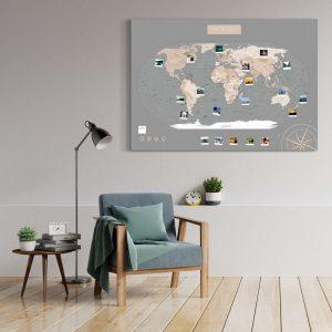 A0 Mapa Świata do Oznaczania Podróży Pastelowa