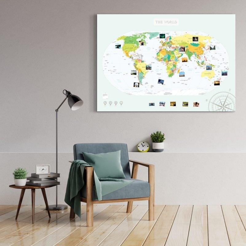 A0 Mapa Świata do Oznaczania Podróży Polityczna Atlasowa