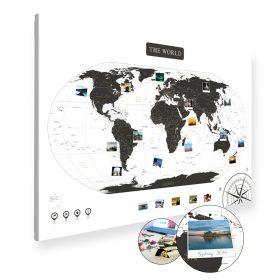 A0 Mapa Podróży Świat na ścianę do zaznaczania miejsc biało czarna na płótnie XXL