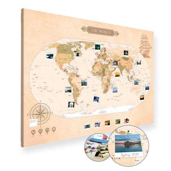 A0 Mapa Podróży Świat na ścianę do zaznaczania miejsc klasyczna na płótnie XXL