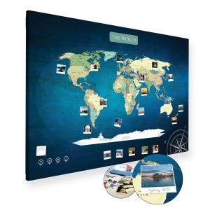 A0 Mapa Podróży Świat na ścianę do zaznaczania miejsc niebieska deep blue na płótnie XXL