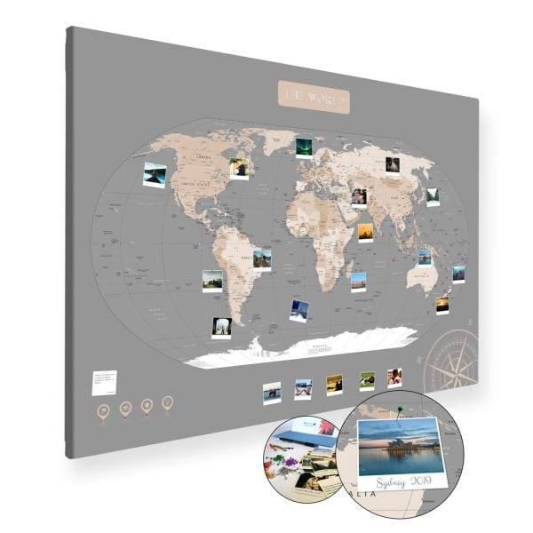 A0 Mapa Podróży Świat na ścianę do zaznaczania miejsc pastelowa na płótnie XXL
