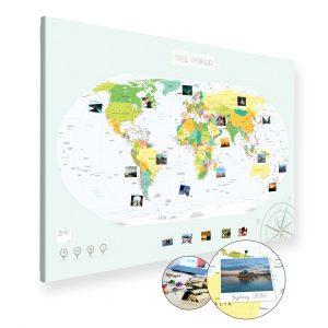A0 Mapa Podróży Świat na ścianę do zaznaczania miejsc polityczna na płótnie XXL