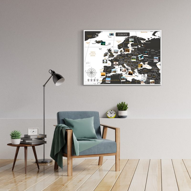A1 Mapa Europy do Oznaczania Podróży Biało Czarna rama biała