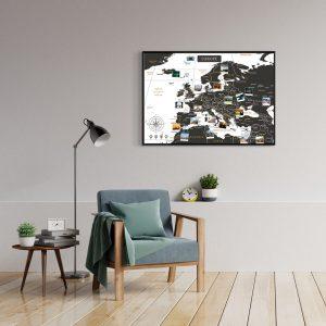A1 Mapa Europy do Oznaczania Podróży Biało Czarna rama czarna